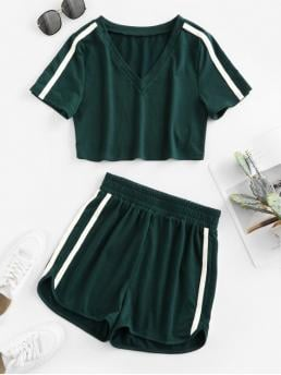 No Summer Striped Flat Elastic High Elastic Short V Regular Casual Casual  and Daily Two Piece V Neck Side Striped High Waist Shorts Sets