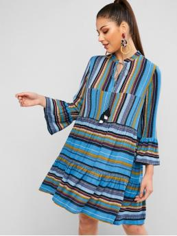 No Fall Striped Tassel Long V-Collar Knee-Length A-Line Casual and Vacation Casual Striped Bell Sleeve Tassel Smock Dress