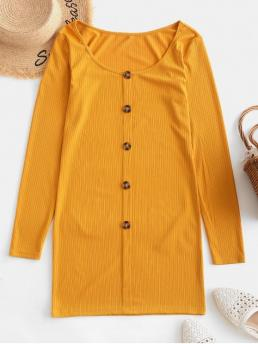 No Fall and Spring Solid Button Long Scoop Mini Bodycon Casual and Day Casual Button Front Ribbed Long Sleeve Dress
