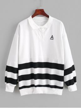 Autumn Embroidery Letter and Striped Full Long Drop Sweatshirt Striped Letter Embroidered Drop Shoulder Sweatshirt