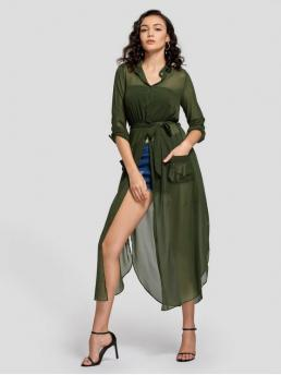 Fall and Spring and Summer Yes Solid Button and Slit Long Stand Ankle-Length Casual and Going Slit Belted Half Buttoned Maxi Shirt Dress