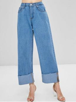 Fall and Spring and Winter Frayed Straight Normal Bleach Fashion Wide Leg High Waisted Palazzo Jeans