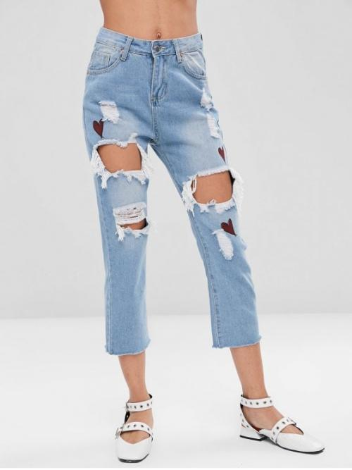 Fall Frayed and Ripped Zipper Regular Capri Destroy Fashion Heart Ripped Cut Out Jeans