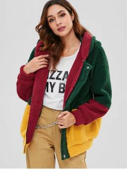 Patchwork Hooded Drop Full Long Wide-waisted Fur Casual Color Block Faux Fur Hooded Coat