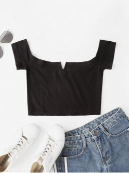 Autumn and Summer Solid Elastic Short Off Short Fashion Cropped V Wire Off Shoulder Tee