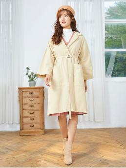 Autumn and Spring Yes Nonelastic Casual Front Solid Turn-down Long Full Wide-waisted Trench Front Pocket Belted Trench Coat