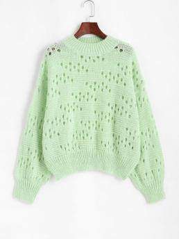 Full Sleeve Pullovers Polyacrylic Solid Mock Neck Pointelle Knit Sweater Shopping