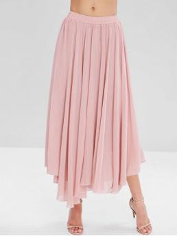 Fall and Spring and Summer Elastic Solid A-Line Ankle-Length Daily and Going Elegant Flowy Layered Chiffon Maxi Skirt