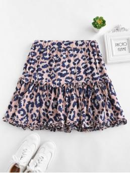 No Fall and Summer and Winter Elastic Ruffles Leopard A-Line Mini Daily Fashion Ruffle Leopard Mini Skirt