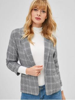 Fall and Spring Houndstooth Full Lapel Regular Regular Casual Turn Up Sleeve Woven Houndstooth Blazer