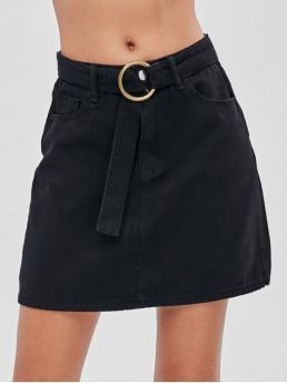 Yes Spring and Summer Zipper Pockets Solid A-Line Mini Daily Fashion Belted Pocket Denim Skirt