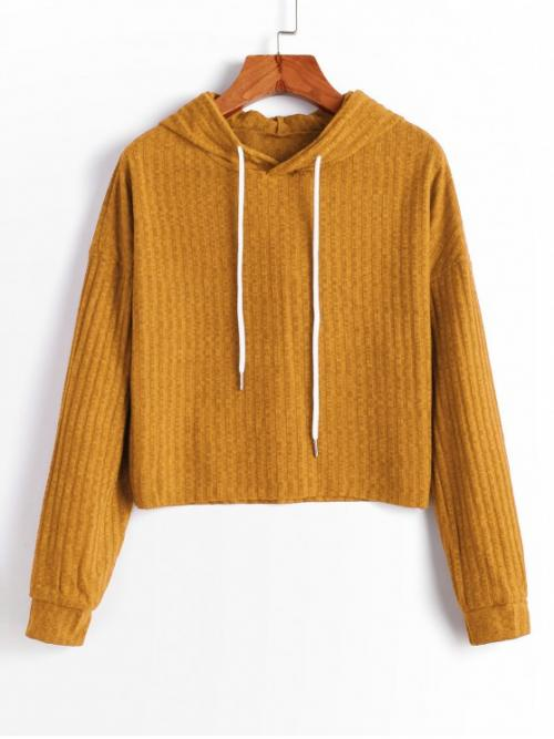 Autumn Solid Elastic Full Drop Hooded Regular Regular Casual Daily Pullovers Hooded Drop Shoulder Raw Hem Knitted Sweater