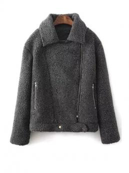 Pockets and Zippers Solid Turn-down Full Wide-waisted Wool Fashion Turn-Down Collar Long Sleeves Pure Color Coat