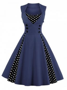 Spring and Summer No Polka Sleeveless Square Knee-Length A-Line Vintage Polka Dot Puffer Midi Dress