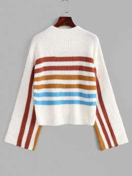 Fashion Full Sleeve Pullovers Acrylic,wool Striped Mock Neck Sweater