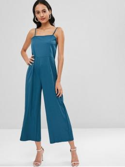 Spring and Summer No Solid Sleeveless Spaghetti Regular Casual Daily Palazzo Spaghetti Strap Jumpsuit