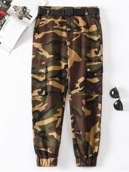 Fall and Spring Yes Zipper Straight Camo Button Regular Mid Fashion Flap Pockets Camouflage Jogger Pants