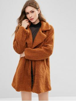 Winter Solid Lapel Full Long Wide-waisted Fashion Double Breasted Fluffy Faux Fur Winter Coat