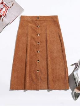 Fall Button Solid A-Line Mid-Calf Daily Leisure Button Up Corduroy Mid Calf Skirt