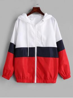 No Autumn and Spring Patchwork Hooded Full Regular Wide-waisted Fashion Jackets Daily Color Block Zip Up Windbreaker Jacket