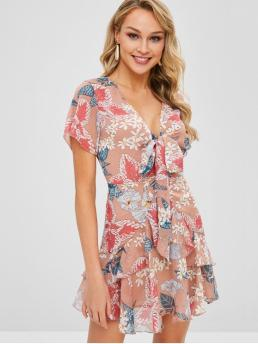 No Summer Floral Ruffles Short V-Collar Mini A-Line Beach and Casual and Vacation and Day Fashion Floral Print Tie Front A Line Dress