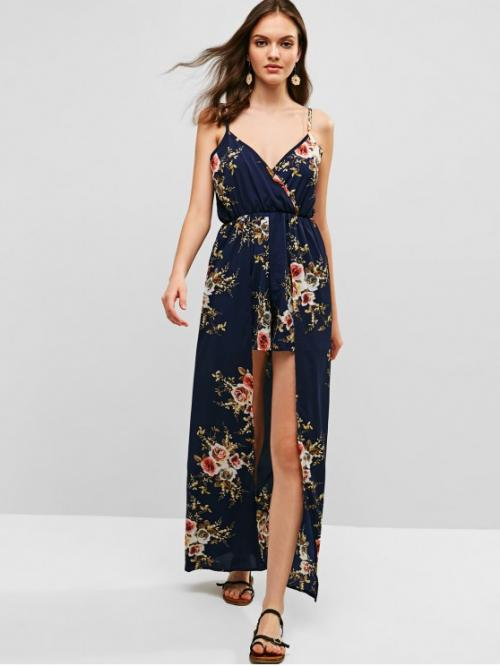 Summer No Floral Nonelastic Sleeveless Spaghetti Normal Regular Fashion Daily and Vacation Overlap Floral Cami Maxi Romper