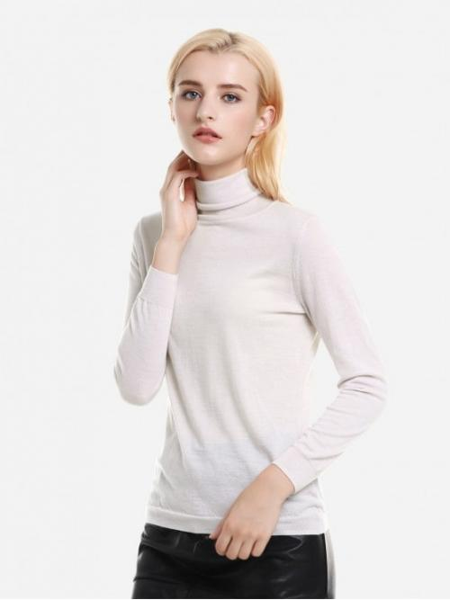 ZAN.STYLE Ribbed Wool Turtleneck Sweater