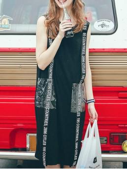 Summer No Letter Sleeveless Round Knee-Length A-Line Casual Round Neck Sleeveless Pockets Letter Print Dress