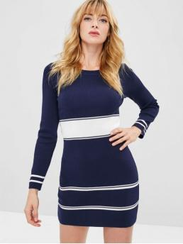 Fall and Spring No Striped Long Round Mini Casual  and Going Long Sleeve Stripes Sweater Mini Dress