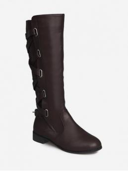 Trendy PU Rubber Zip Solid 3CM Chunky Round Knee-High Spring/Fall Fashion For Back Crisscross PU Knee High Boots