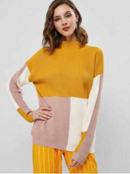 Beautiful Full Sleeve Pullovers Cotton,polyester,polyurethane Patchwork Mock Neck Color Block Pullover Sweater