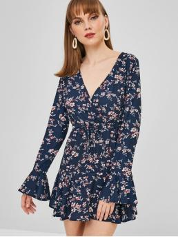 No Spring Floral Flounce Long Flare Plunging Mini A-Line Casual and Day and Vacation Casual Surplice Bell Sleeve Floral Dress