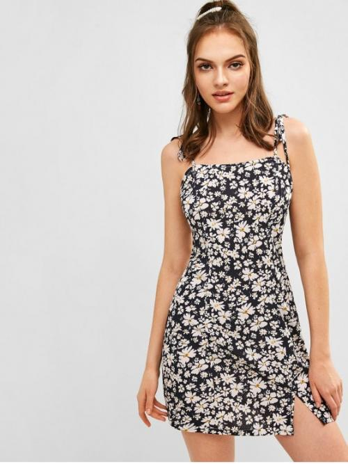 No Summer Floral Slit Sleeveless Spaghetti Mini A-Line Casual and Day and Vacation Fashion Floral Tie Shoulder Cami Dress