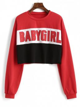 Autumn Letter Full Short Drop Round Sweatshirt Baby Girl Color Block Raw Cut Short Sweatshirt