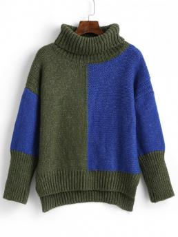 Autumn and Winter Slit Others Nonelastic Full Drop Turtlecollar High Loose Casual Daily Pullovers High Low Color Block Turtleneck Sweater