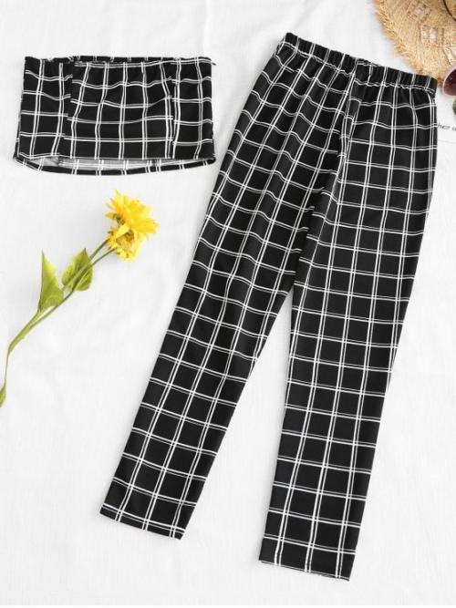 No Summer Plaid Flat Elastic Mid Sleeveless Strapless Regular Fashion Casual and Daily Plaid Bandeau Top And Pants Set