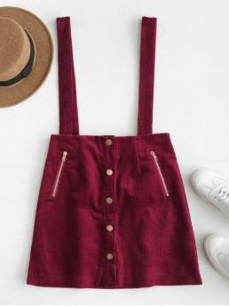 Fall Button Zippers Solid A-Line Mini Daily Cute Button Up Corduroy Suspender Skirt