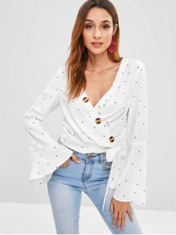Autumn and Spring Button Polka Full Flare Regular Plunging Fashion Daily and Outdoor Flare Sleeve Wrap Polka Dot Blouse