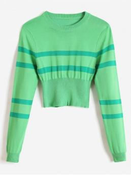 Autumn and Spring and Winter Striped Elastic Full Round Short Regular Casual Pullovers Striped Round Neck Short Sweater