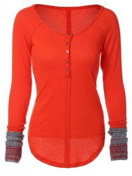 Super-elastic Fall and Spring Striped Full Scoop Casual Contrasting Cuffs Long Sleeve Top
