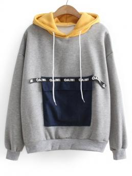 Letter Full Hoodie Contrasting Letter Patches Hoodie