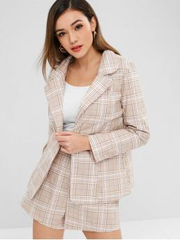 Fall Plaid Flat Zipper High Long Lapel Loose Casual Going One Button Plaid Blazer and Shorts Set