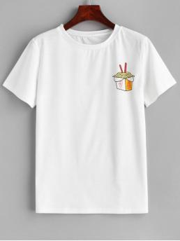 Spring and Summer Print Short Round Casual Graphic Short Sleeve T-shirt
