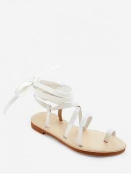 PU PU 1CM Rubber Solid Lace-Up Flat Gladiator Daily Fashion For Toe Ring Lace Up Sandals