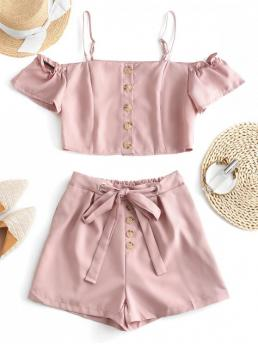 No Summer Button Solid Flat Elastic High Short Cold Spaghetti Regular Fashion Casual and Daily Cold Shoulder Buttoned Blouse and Shorts Set