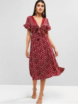 No Summer Nonelastic Floral Lace and Ruffles Short Plunging Mid-Calf A-Line Day and Vacation Elegant Knot Front Floral Tea Dress