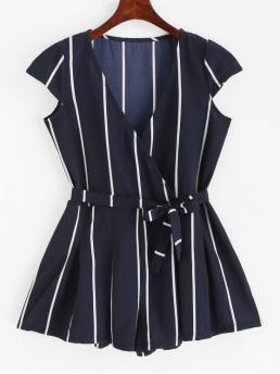 Summer Yes Sashes Striped Nonelastic Short V-Collar Mini Regular Fashion Daily and Going Belted Cap Sleeve Stripes Surplice Romper