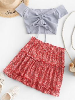 No Fall and Summer Floral Flat Elastic High Short Off A Fashion Beach Contrast Cinched Off Shoulder Ditsy Floral Two Piece Dress