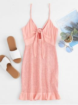 No Summer Elastic Solid Ruffles and Tie Sleeveless Spaghetti Mini Bodycon Club and Cocktail Sexy Shirred Knot Cami Bodycon Dress
