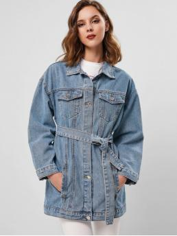 Yes Autumn Pockets and Sashes Solid Single Turn-down Drop Full Long Wide-waisted Casual Jackets Daily Drop Shoulder Pocket Longline Belted Denim Jacket